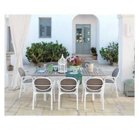 Table Nardi Alloro 210-280 cm extensible blanc-taupe