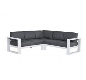 Salon d'angle N-Y aluminium blanc/anthracite